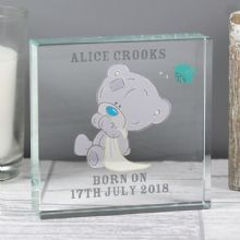 Personalised Tiny Tatty Teddy Large Christening Crystal Token    P1007B31